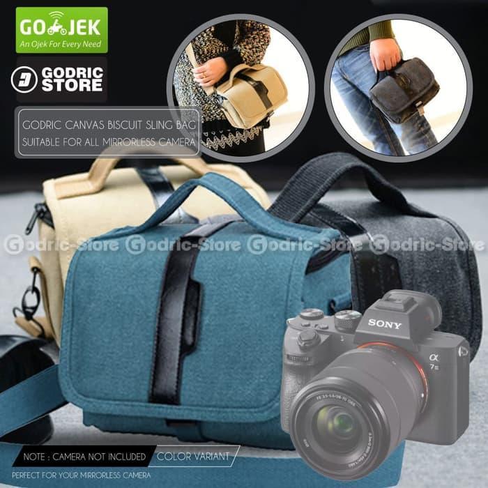 Tas Canvas Sling Bag Case Kamera Mirrorless XA3 XA5 XA20 A6000 M10 etc