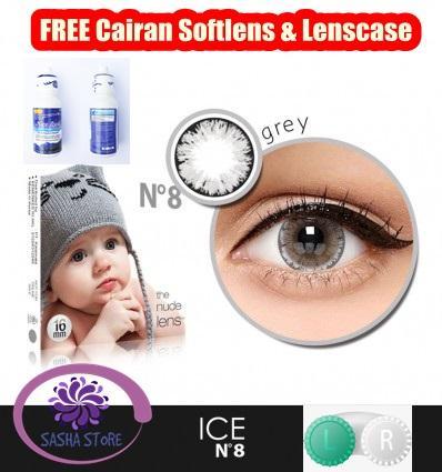 SS Paket Softlens X2 Ice Nude N8 / Free Lenscase & Cairan Pembersih Softlens 60ml - Grey (Abu-abu)