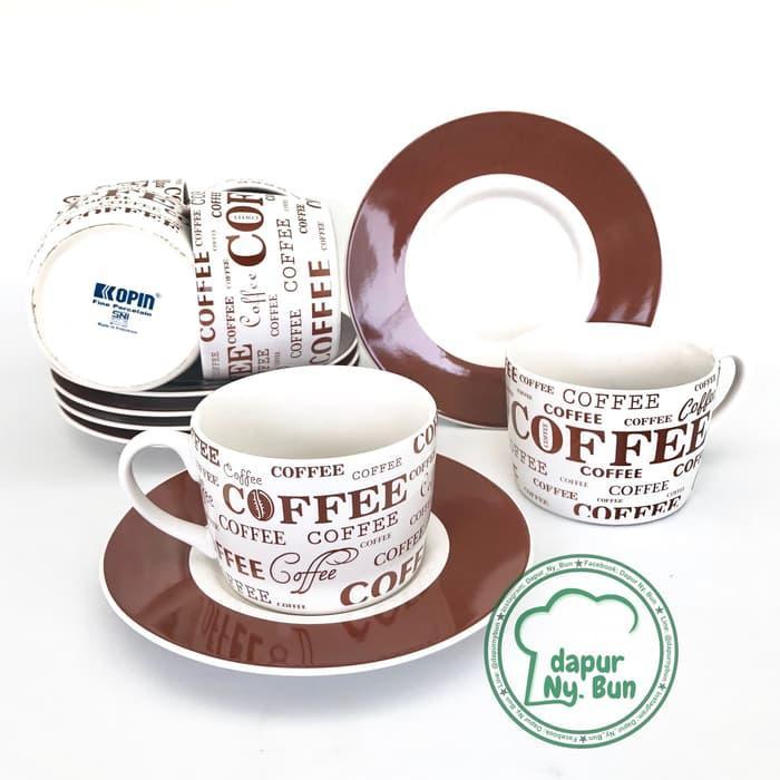 6 Pasang Cangkir Set Full Print Coffee, 6 Cangkir + 6 S