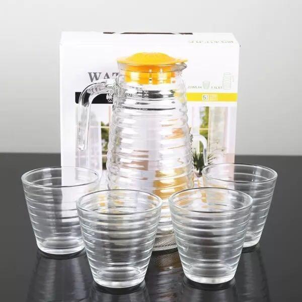 (5IN1) WATER GLASS SET (GELAS ULIR (2 MOTIF PILIHAN) - TOSERBA MEDAN