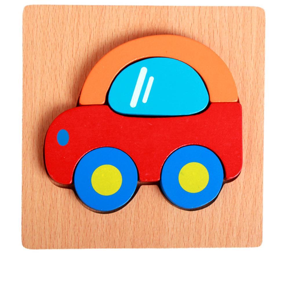 Balita Kid Educational Wooden Board Block Bentuk Binatang 3D Jigsaw Puzzle Mainan Spesifikasi: Mobil