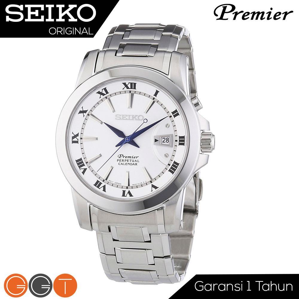 Seiko Premier SNQ139P1 Perpetual Calendar Stainless Steel Case - Jam Tangan Pria - Quartz Movement Promo