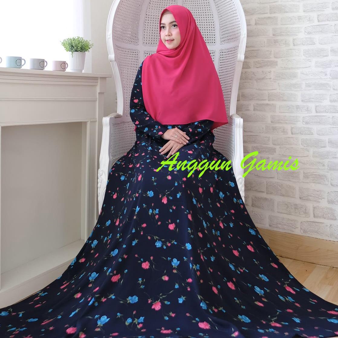 Anggun Store – Anggun Gamis - Gamis Muslimah – Gamis Murah – Gamis Kekinian – Gamis Monalisa – Bunga Biru Dongker