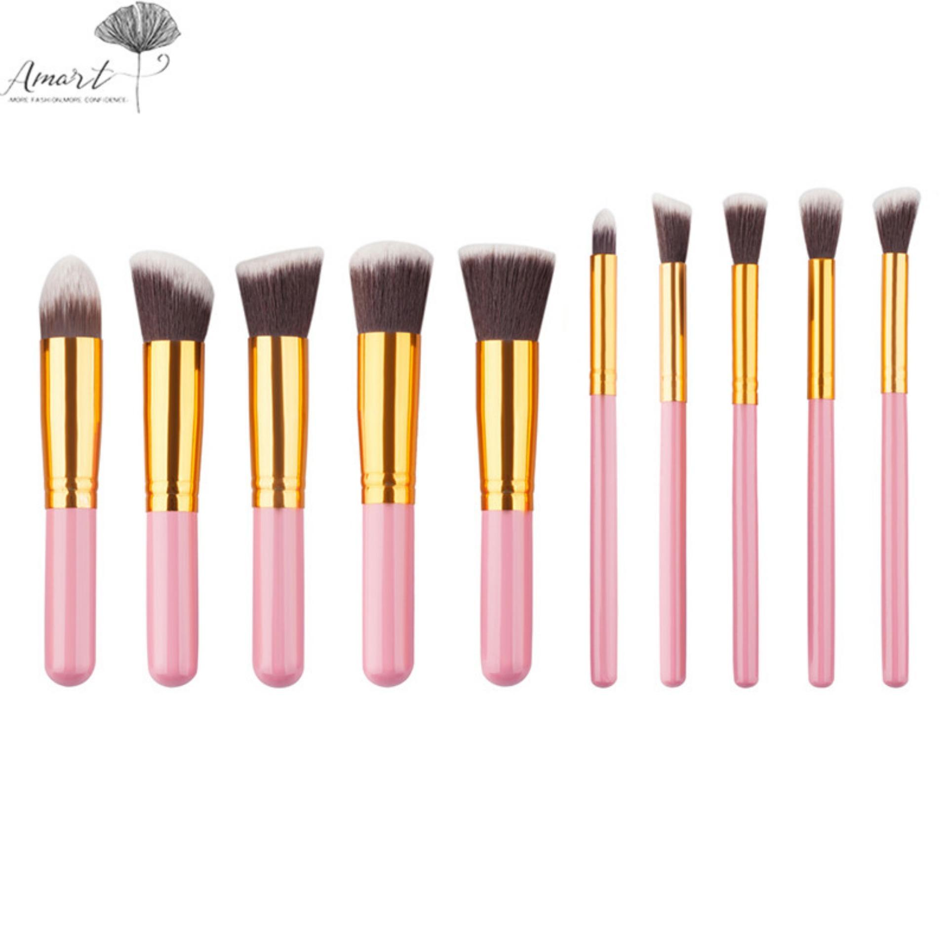 10 Pcs Mini Kosmetik Sikat untuk Alat Rias Set Bubuk Perona Bayangan Mata Kuas Kosmetik Kit