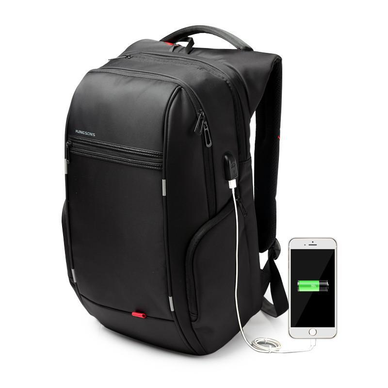 Kingsons 3140W Original Tas Ransel Travel Laptop Premium Anti Maling Anti Air Waterproof Bag USB Charger Support Backpack For Notebook Up To 15.6 Inch