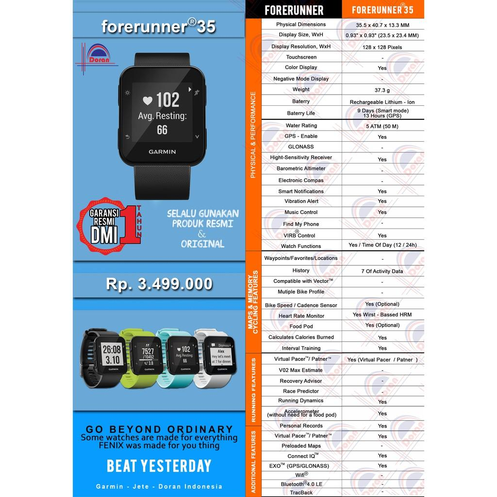 Garmin Forerunner 35 Black Garansi Resmi Dmi 1 Tahun Daftar Harga Putih Laris Jam Tangan Blue
