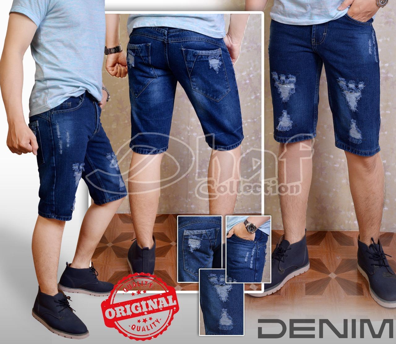 Jual Celana Pendek Pria Terbaik Panjang Jeans Street Bahan Ngaret Sobek Bitu Tua Sangat Murah