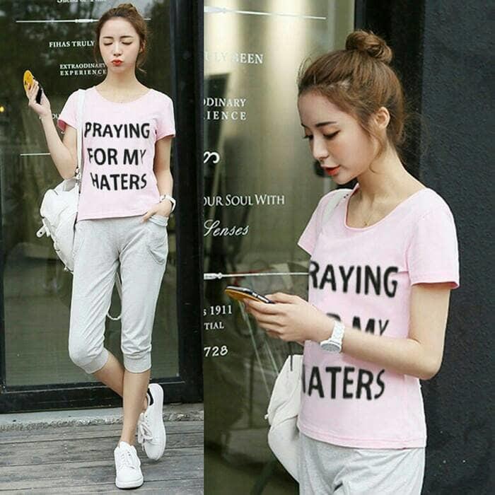Setelan Wanita Blouse + Celana Praying For My Haters 2In1 Ootd