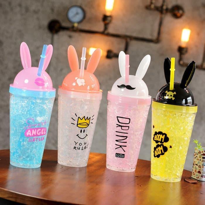Botol Ice Cup / Gelas Kristal Kelinci Frosty Mug Tumblr 480