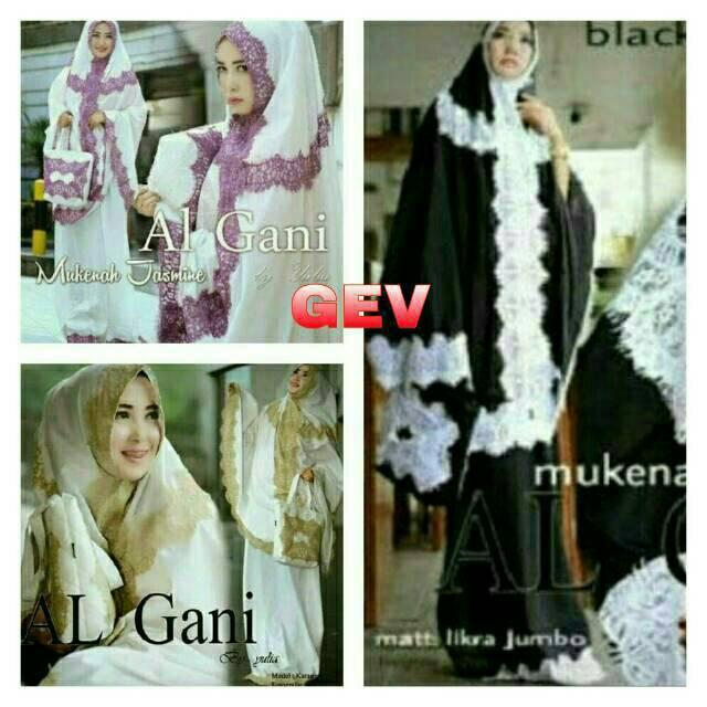MUKENA AL GANI GOLD RIN BAHAN JERSEY RENDA GOOD QUALITY FIT TO XXL (lavender)