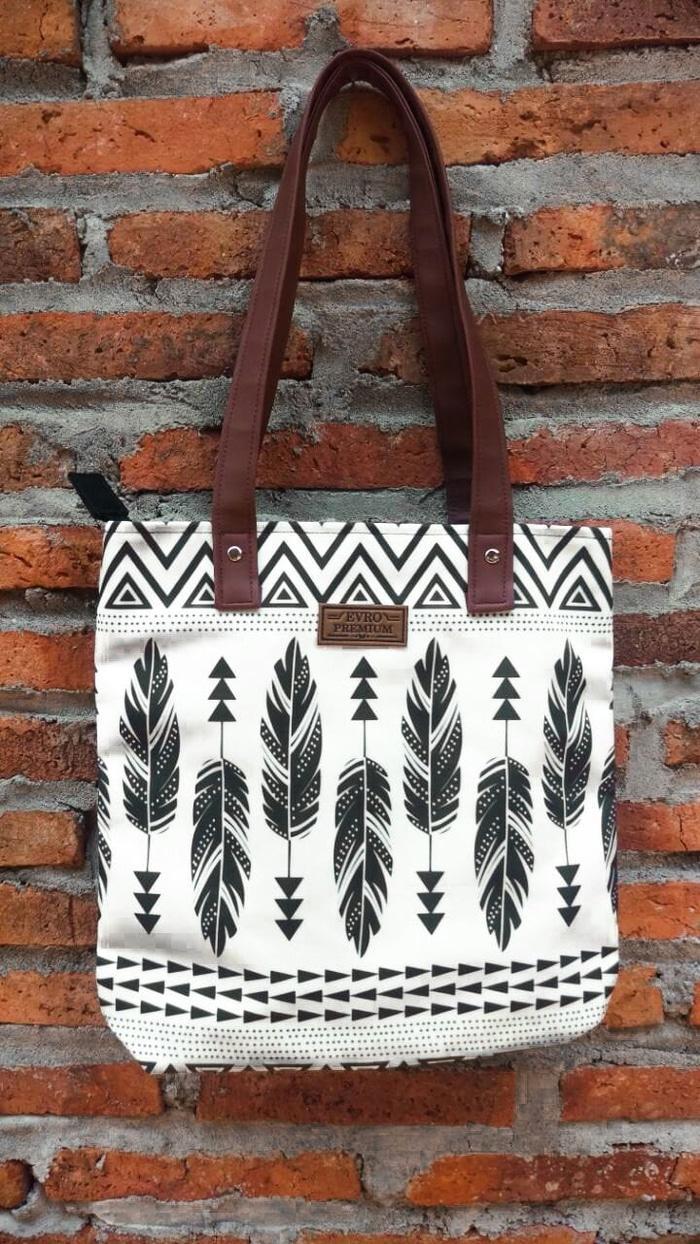 Harga Jual Print Tote Bag Termurah 2 In 1 Elasay Tas Wanita  Motif Full Kuliah Kerja Special Price Hdji9p
