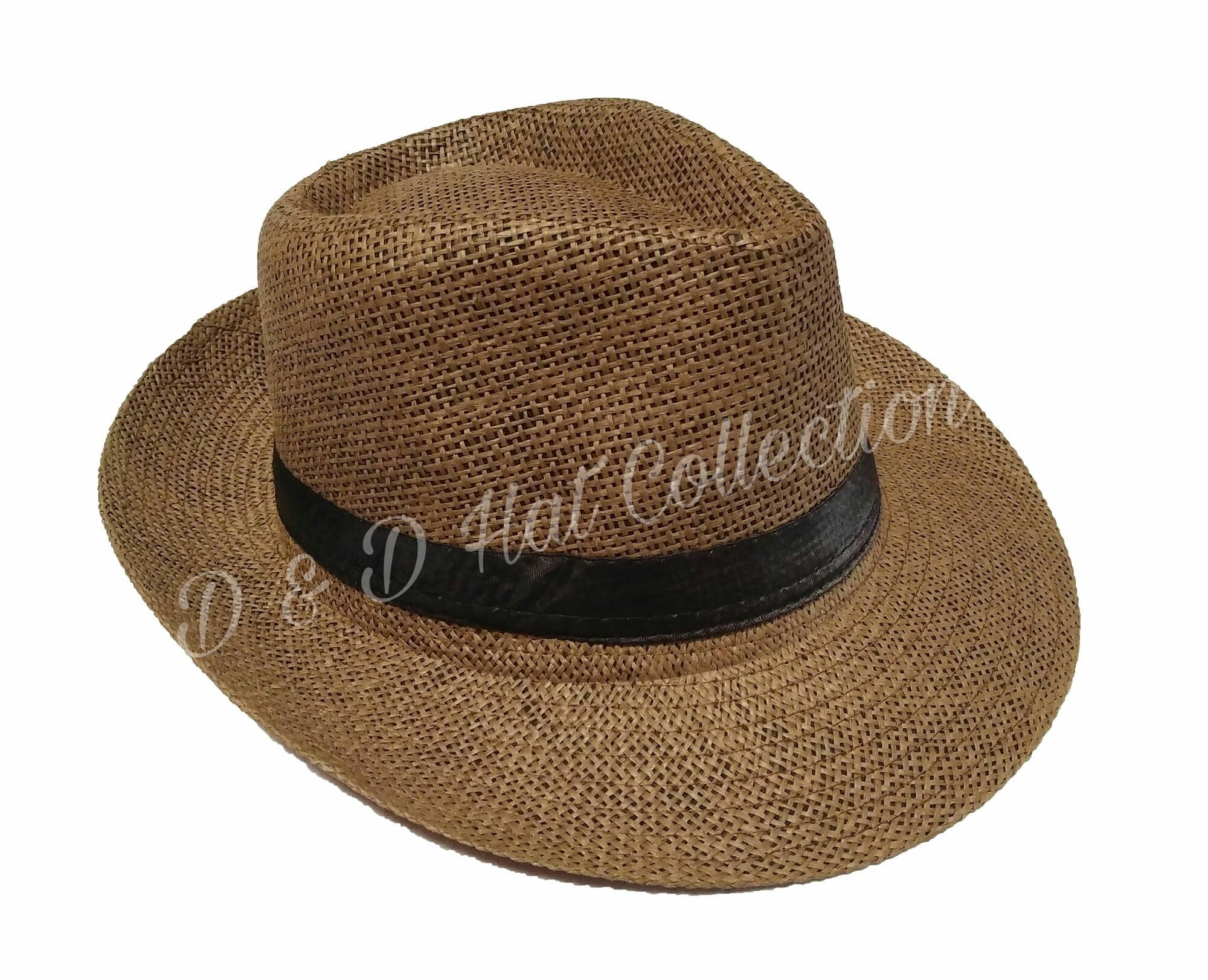D & D Hat Collection Topi Fedora Anyaman Import Brim Lebar