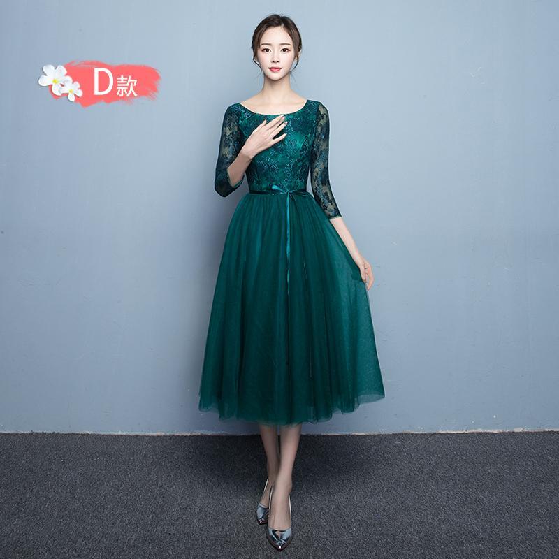 Elegan Gaun Malam Perjamuan Busana Pendamping Pengantin Model Korea Bagian Panjang Baru (816 Setengah Panjang