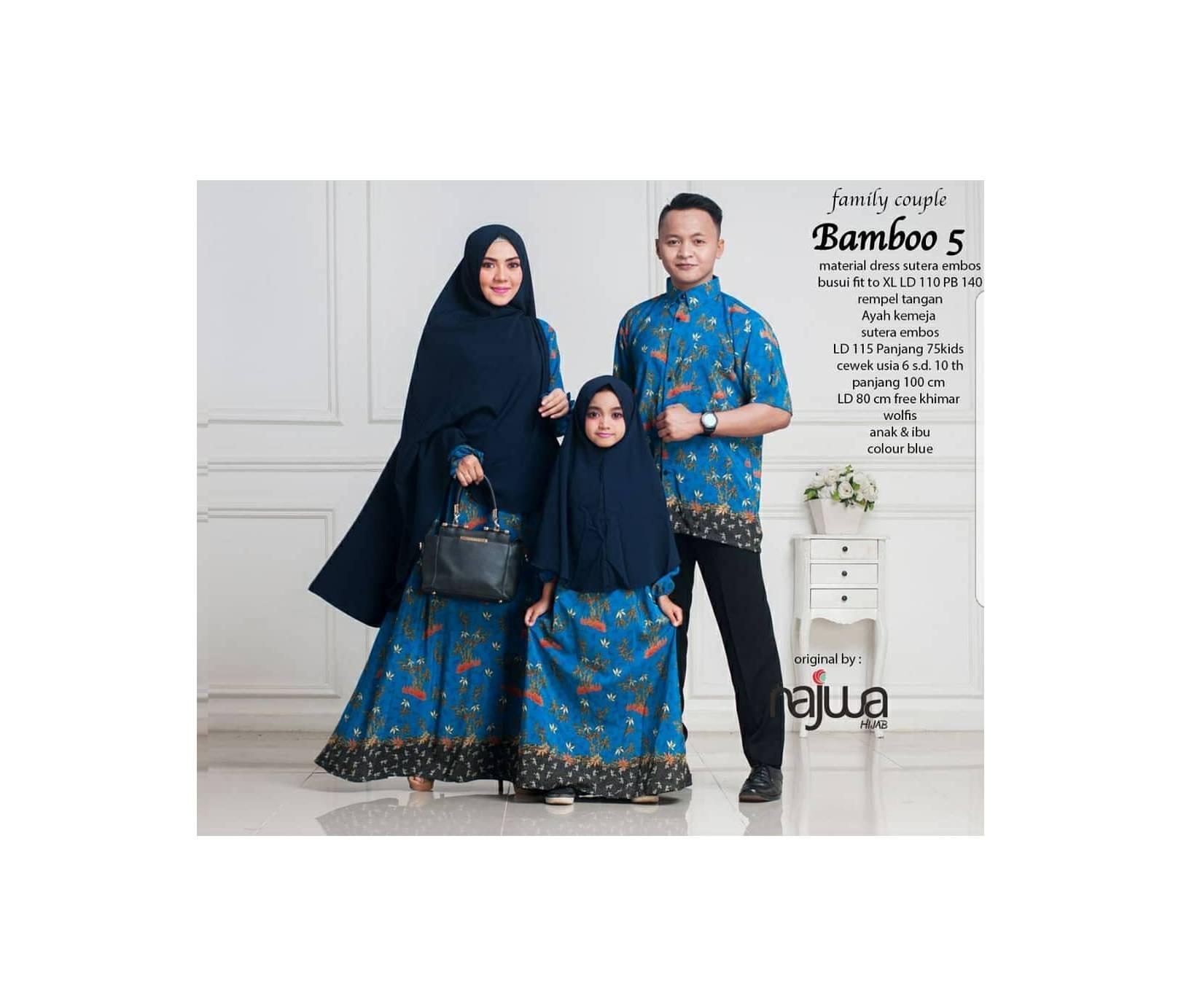 baju muslim syari lebaran couple sarimbitan batik ayah ibu anak