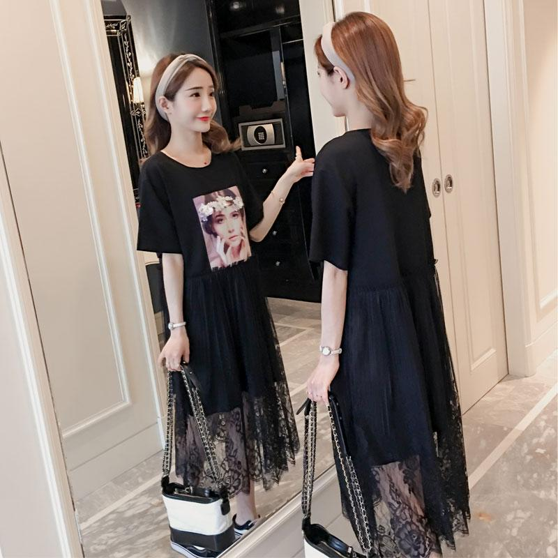 Gaya Korea Model Musim Panas Agak Gemuk ukuran besar baju wanita model baru MM longgar Sambungan Jahitan rok renda membentuk tubuh model tipis gaun