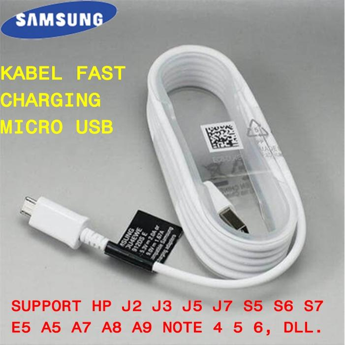 Kabel Data USB Samsung S4 S5 S6 S7 J3 J5 J7 A3 A5 A7 Note 2 4 5 Hp 2014 2015 2016 Charger Cable Fast