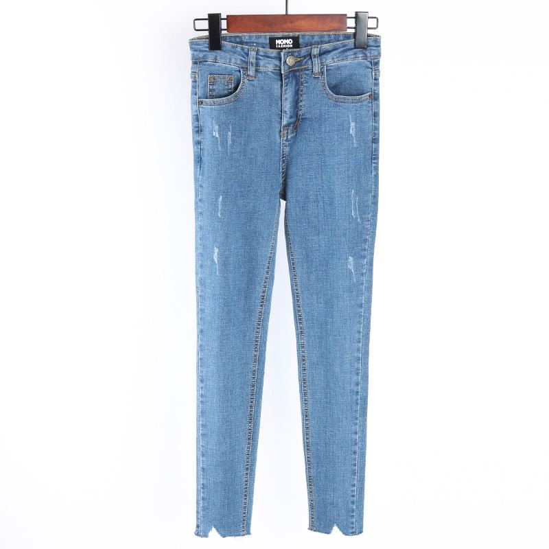 Momo Duri Baru Tipis Secara Signifikan Celana Pensil Kaki Pinggang Tinggi Celana Jeans (Cahaya Biru