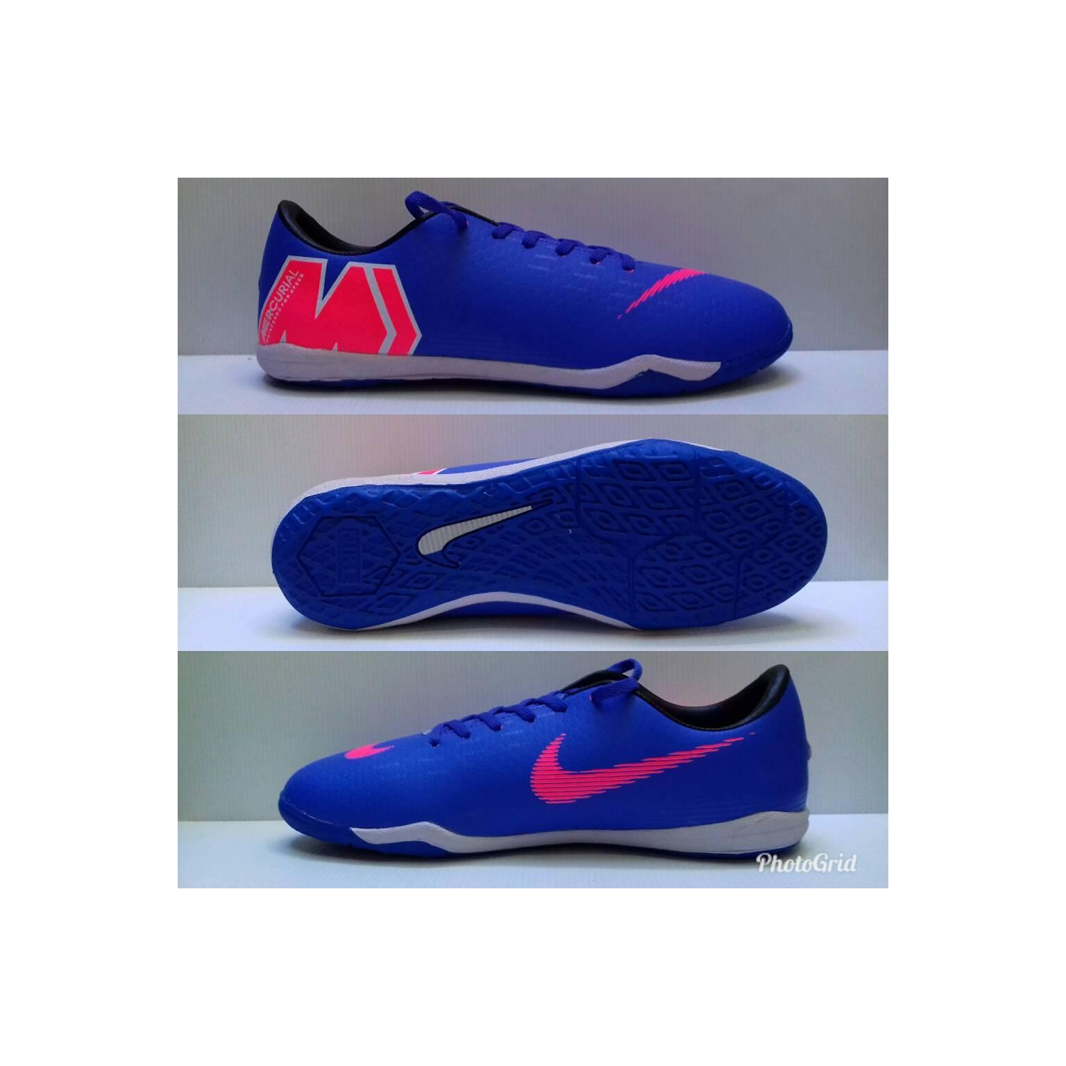 Sepatu futsal Nike mercurial biru list hitam sol karet