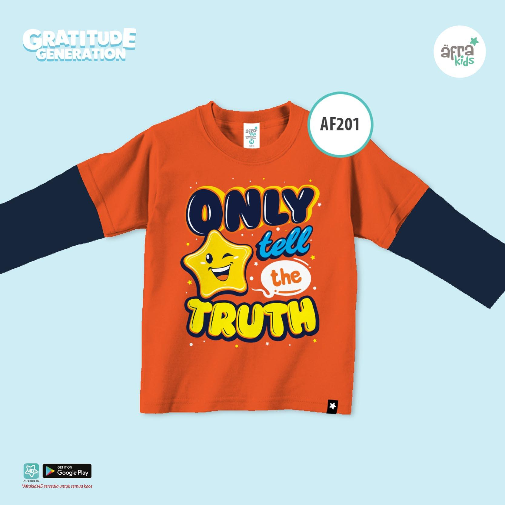 Aria Baju Kaos Anak Afrakids / Baju Kaos Anak Unisex / Baju Kaos Lengan Panjang Cowok Cewek / AF201 - Oranye