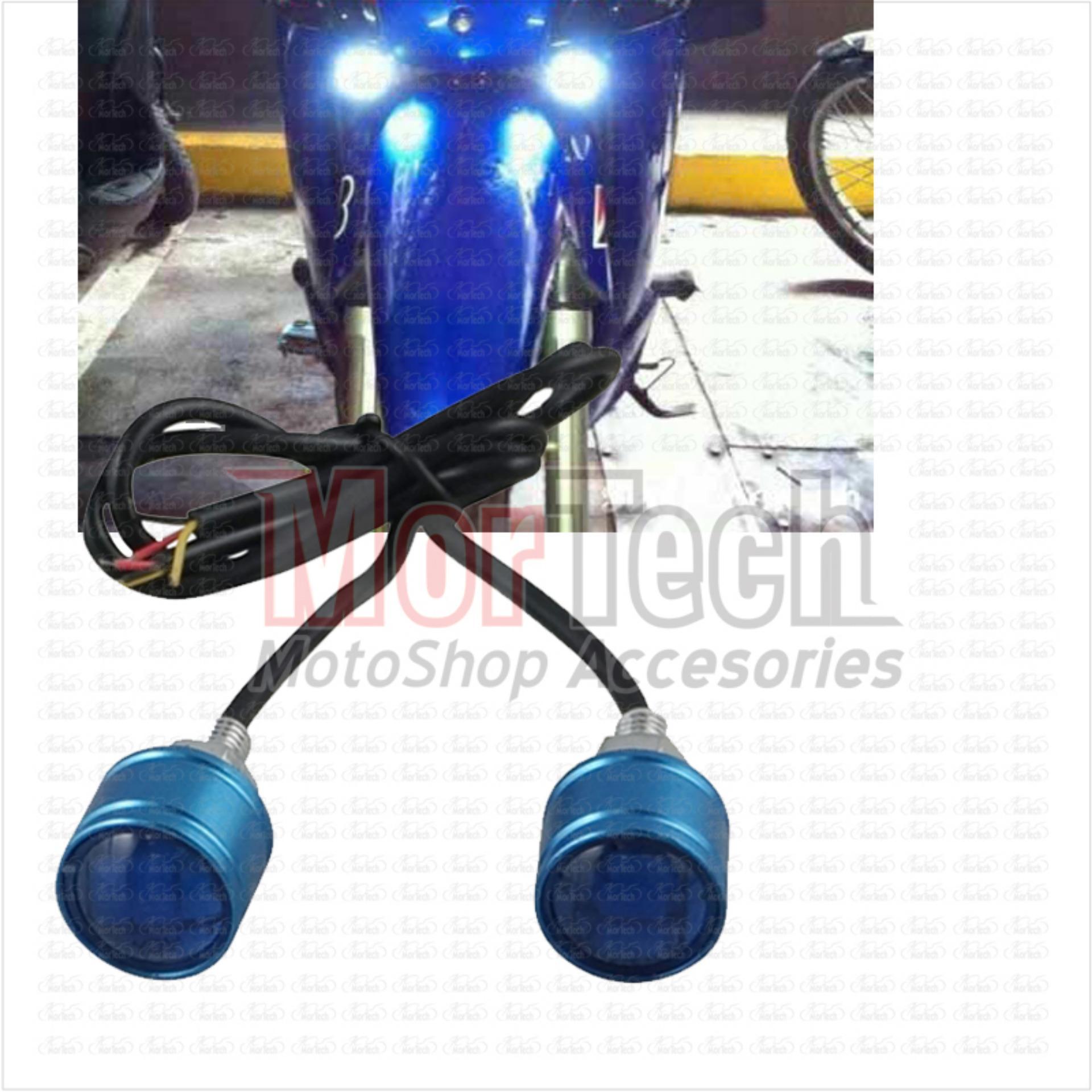 Mortech DRL Lampu Variasi Led Mata Elang Kedip Strobo Motor X Ride Biru