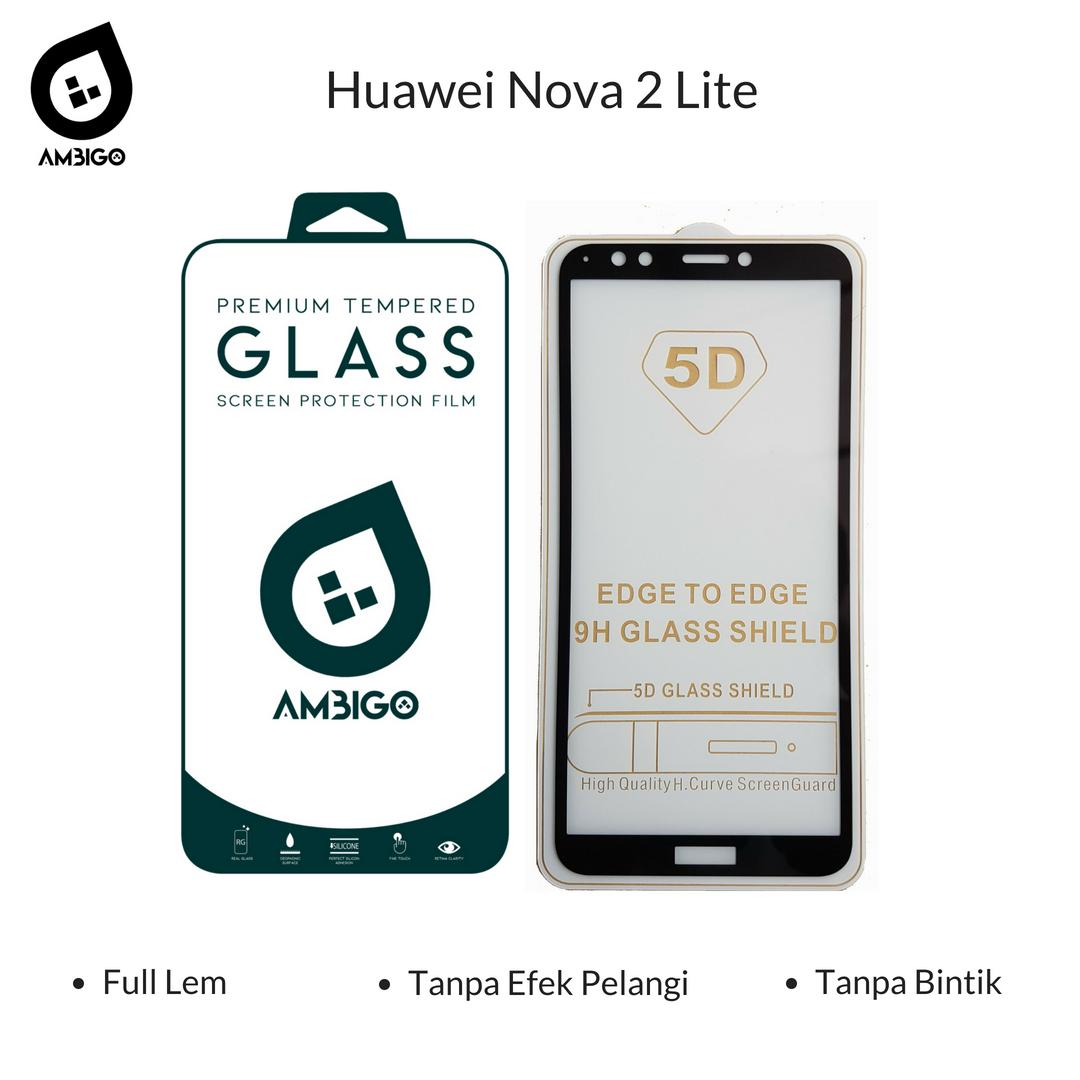 Accessories Hp Ambigo Tempered Glass 5D Full Cover Warna / Anti Gores Kaca Full Lem Untuk Huawei Nova 2 Lite - Black