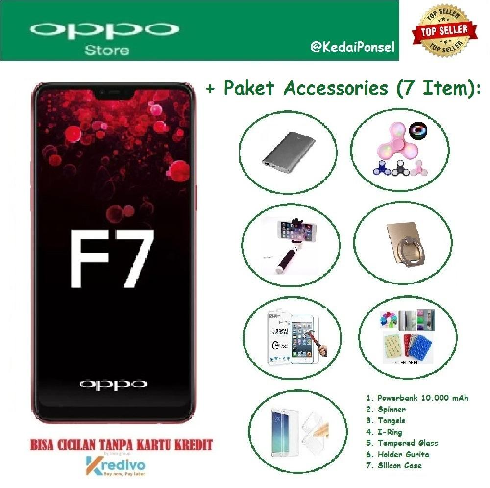 OPPO F7 [4/64GB] + Paket Accessories (7 Item)