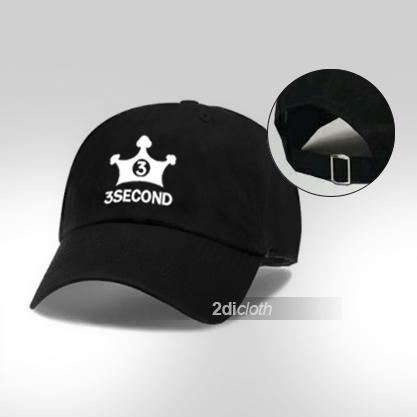 Topi baseball 3second white logo premium black