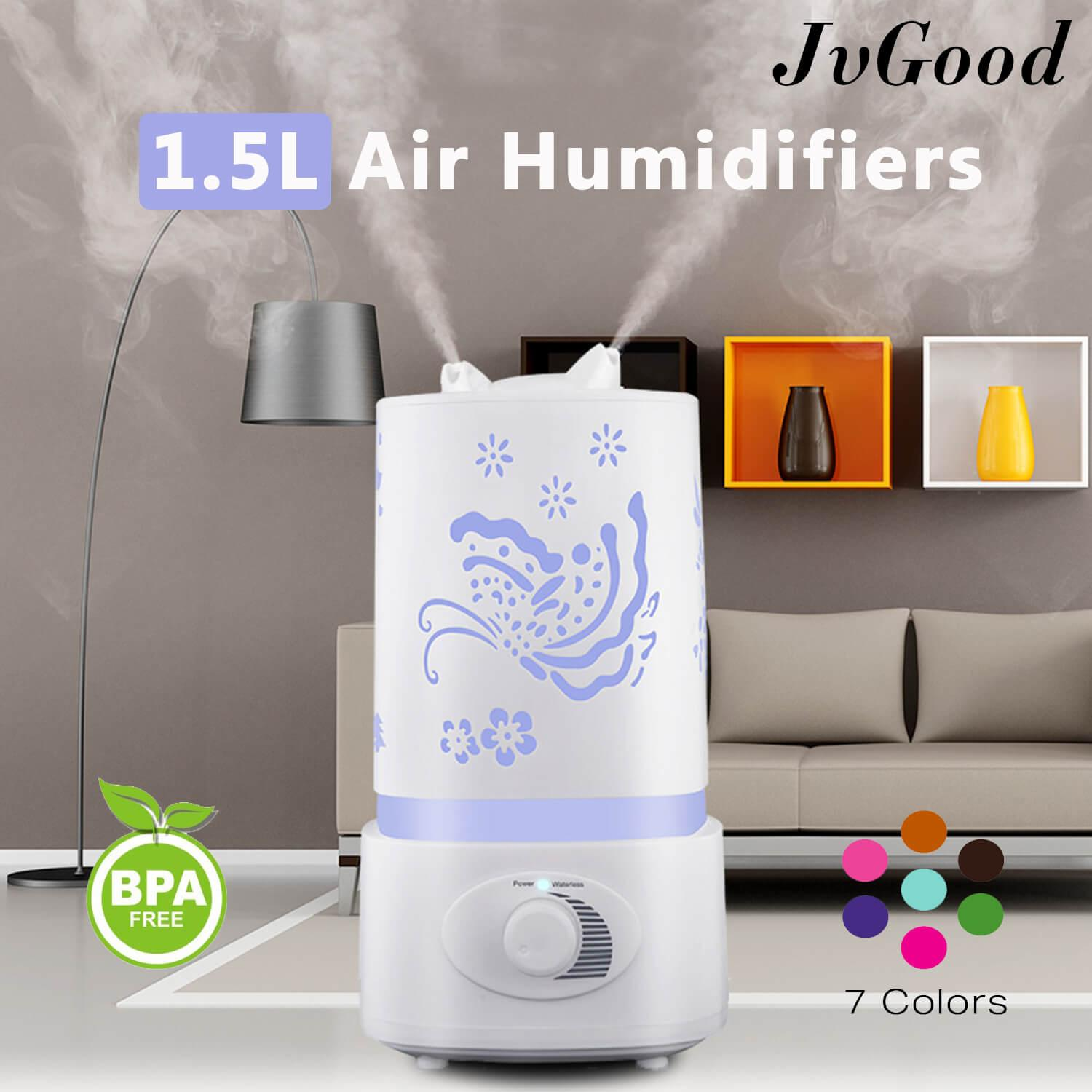 Jvgood Air Humidifiers Aroma Diffiusers Purifiers Cool Mist Humidifiers Essential Oil Aromatherapy Diffusers Machines Air Purifiers Mist Maker 1.5l With Double Nozzles By Jvgood.