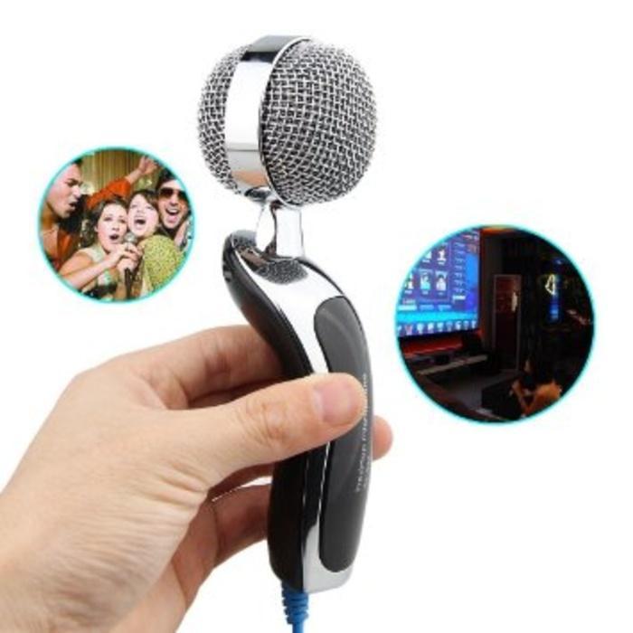3.5mm Mikrofon Mic Stainless Besi PC Laptop Chat Rekam Audio + Tripod