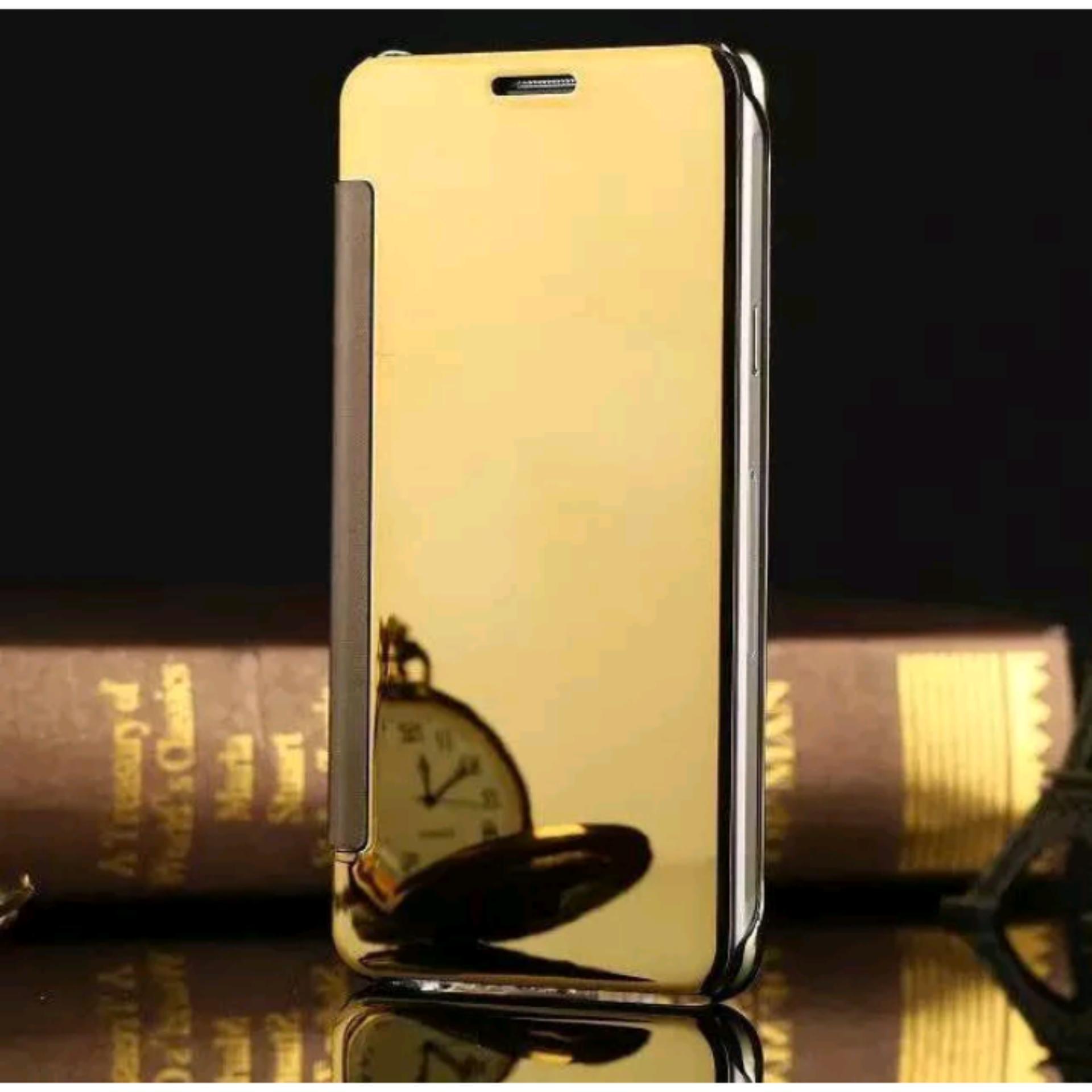 OEM Flip Case For Samsung Galaxy A3 2017 A320F Mirror K-View Flip Cover Emas