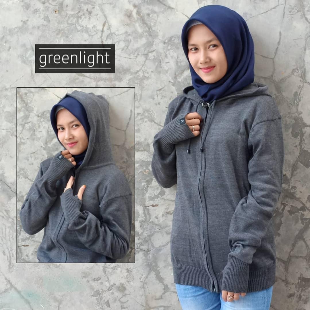 Greenlight - Jaket Sweater Hoodie Rajut Wanita Terbaru - Abu Tua