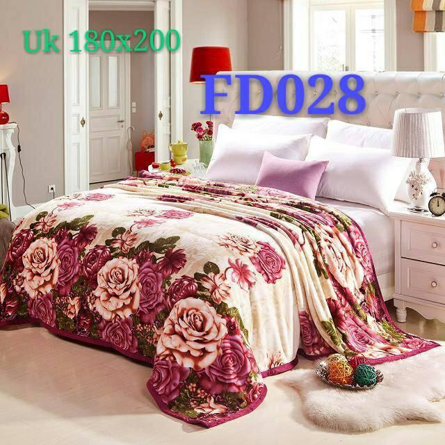 Selimut Bulu Tebal Ukuran 180 x 200 cm Motif Cream Rose - FD028