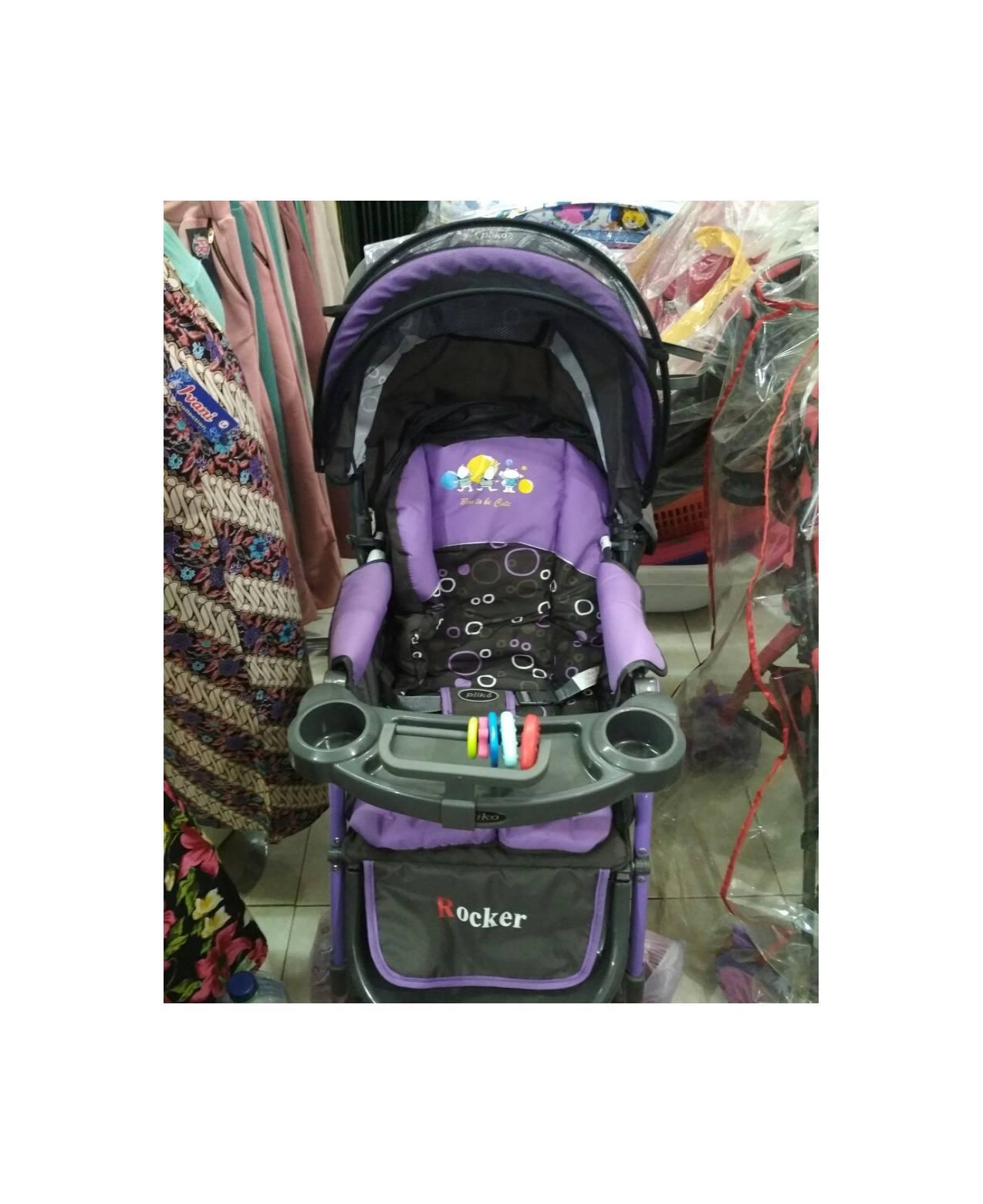 stroller bayi pliko rocker/roda 4 warna ungu
