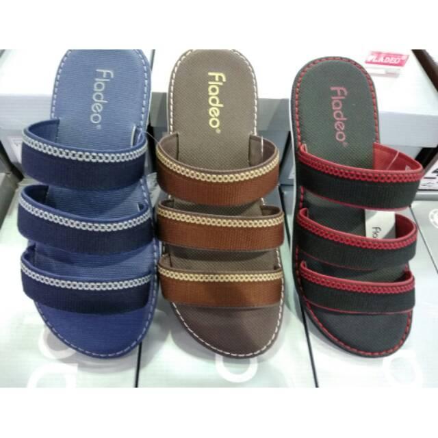 Sandal casual pria fladeo original 100% fullset box new arrival hitam 39-43