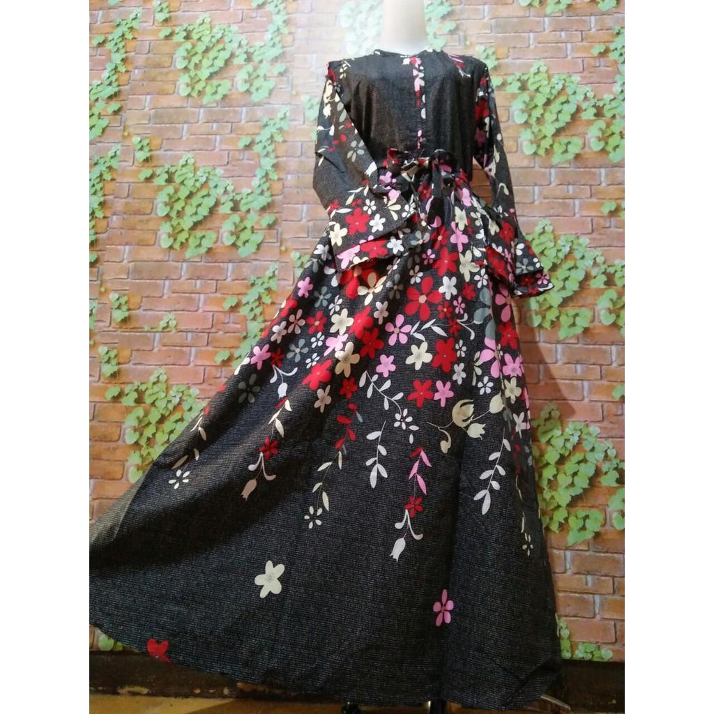 Gamis katun bunga rambat umbrella puter payung dress syari baju muslim busana muslimah modern tuniq (Grey M)