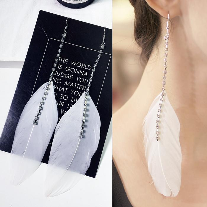 Anting  Feather  Rhinestone Chain Long Earrings DES825