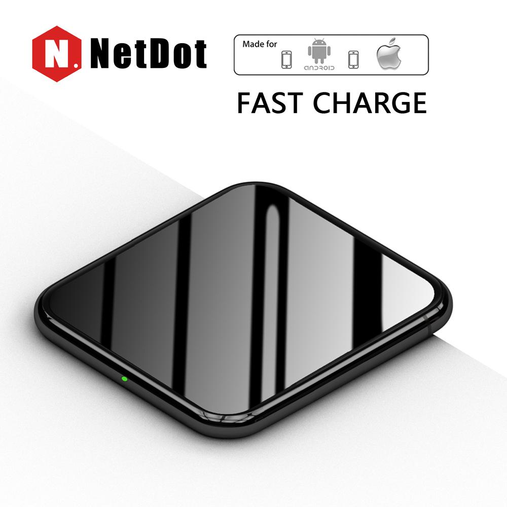 NetDot  Chargers ,  NetDot Qi-Certified Fast  Charging Pad for Samsung Galaxy S9/S9 Plus/S8/S8 Plus ( 10W ),  iPhone X/8/8 Plus  ( 7.5W ), and Other Qi-enabled devices  ( 5W ) 2Pack