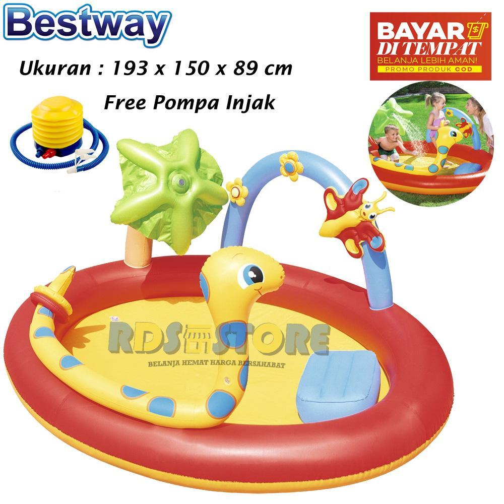 Bestway Kolam Renang Anak Ular Sprayer Pool 193 x 150 cm + Pompa Injak