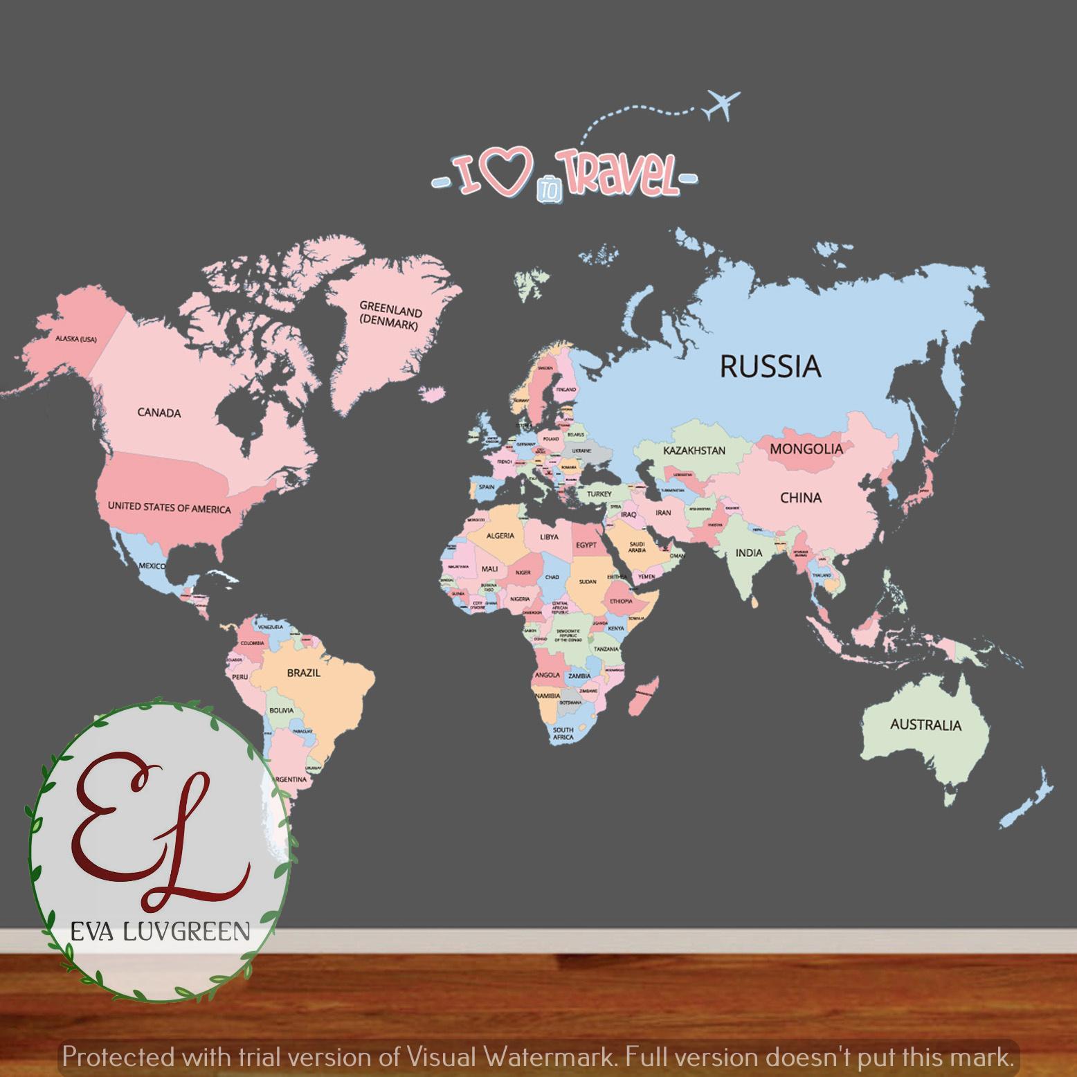 ... Dapat Dilepas Stiker Dinding Hitam. Source · Eva Luvgreen Wall Sticker World Map/ Peta Dunia I Love Travel Ukuran 60x90cm/ Stiker