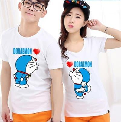 Kaos Couple Dora Kiss T-shirt Pasangan Doraemon