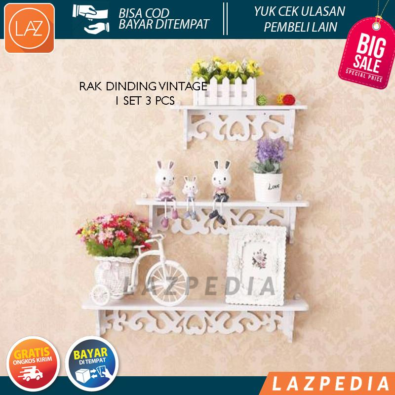 COD/BYR DITEMPAT - BIG PROMO!!! - Rak Dinding Vintage 1set 3pcs Dengan 5 hook Gantungan Floating Shelf Lazpedia