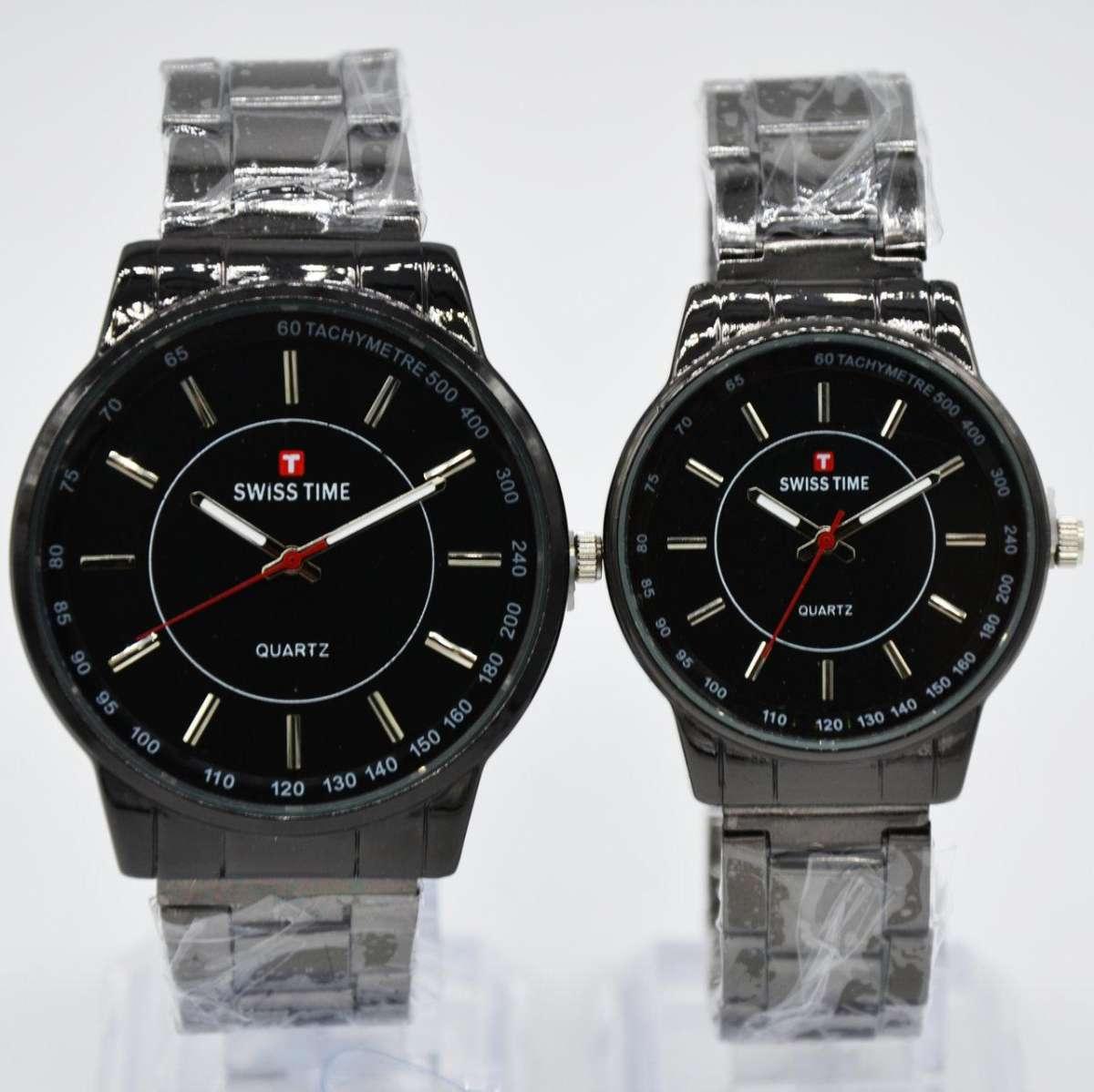 Swiss Time/Army - Jam Tangan Couple Stainless Steel - terbaru ST3887