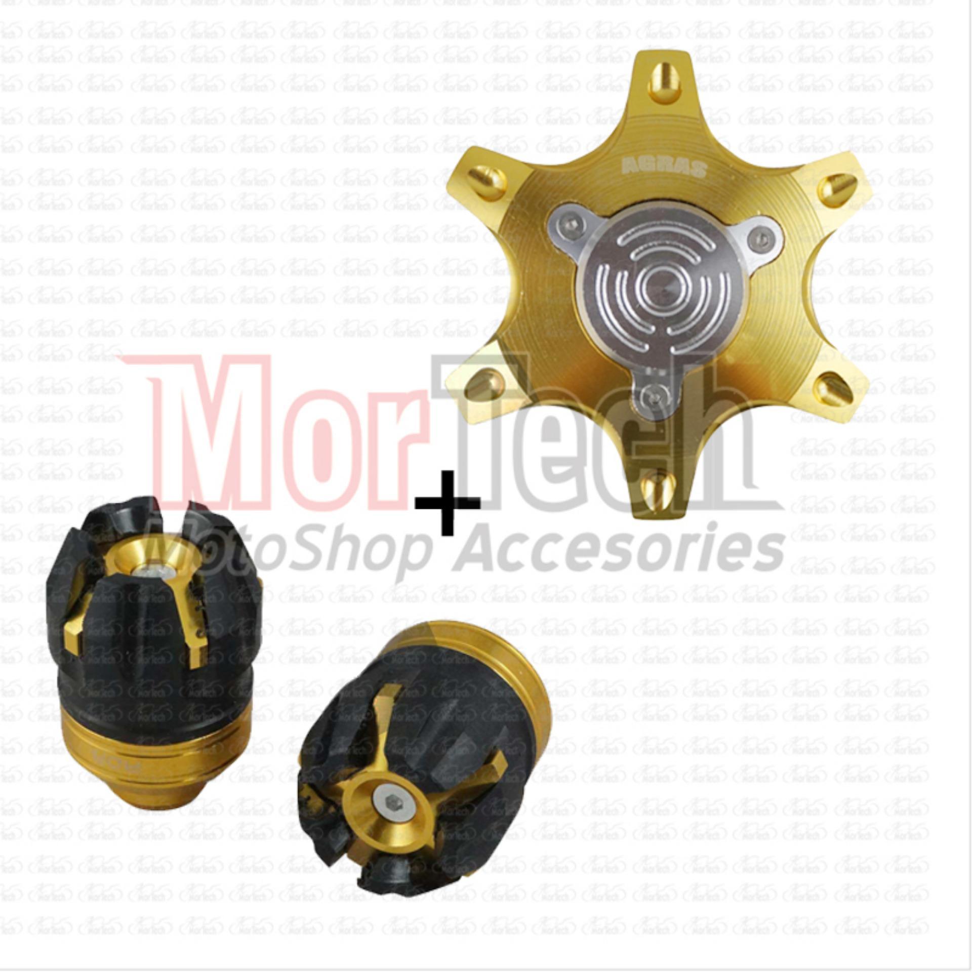 Paket Tutup - Jalu As Roda Depan + Belakang CNC Variasi Motor X Ride Gold