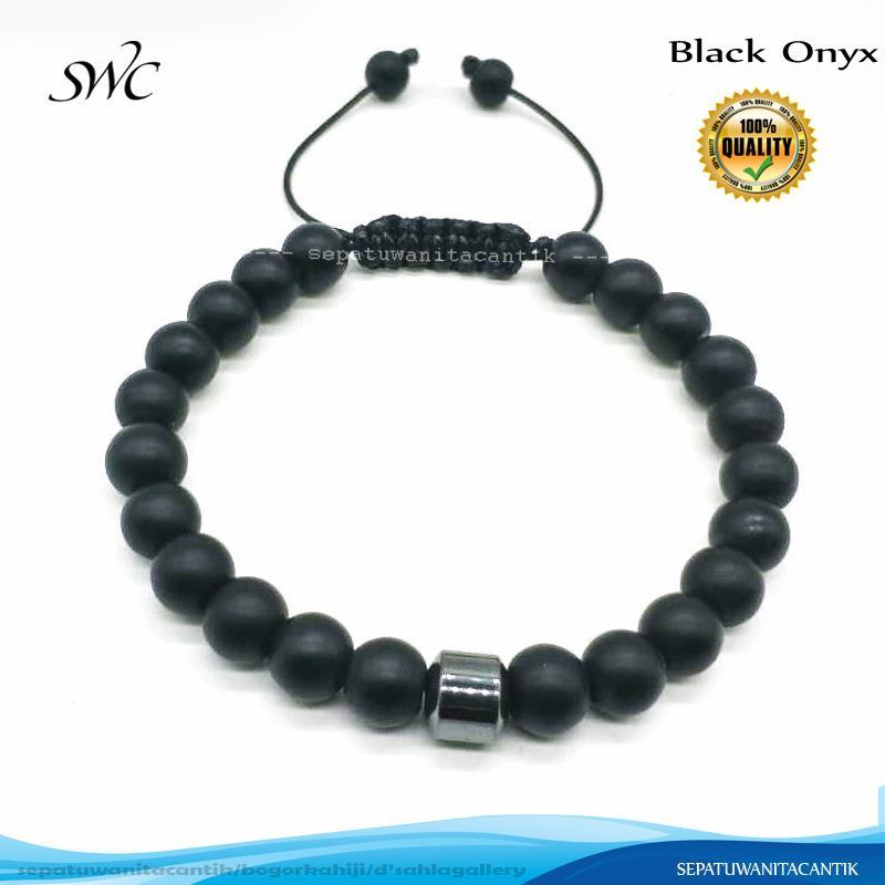 Gelang Batu Kesehatan Hematite dengan Black Onyx Doff 8 mm Tali Giok
