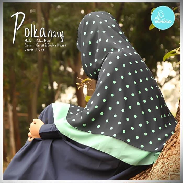 Hijab / Jilbab / Khimar Elmina Zahra Motif - Polka Navy - 110 cm A4300