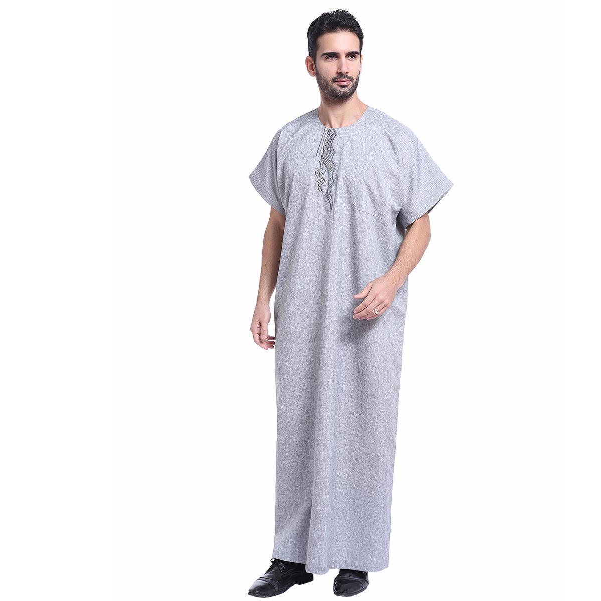 Muslim Arabia Timur Tengah Pria Jubah Baju Muslim Gamis Pria Lengan Pendek