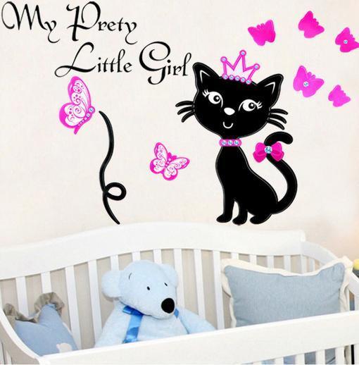 Set Stiker Dekorasi Dinding Motif Kucing Hitam dan Kupu-Kupu