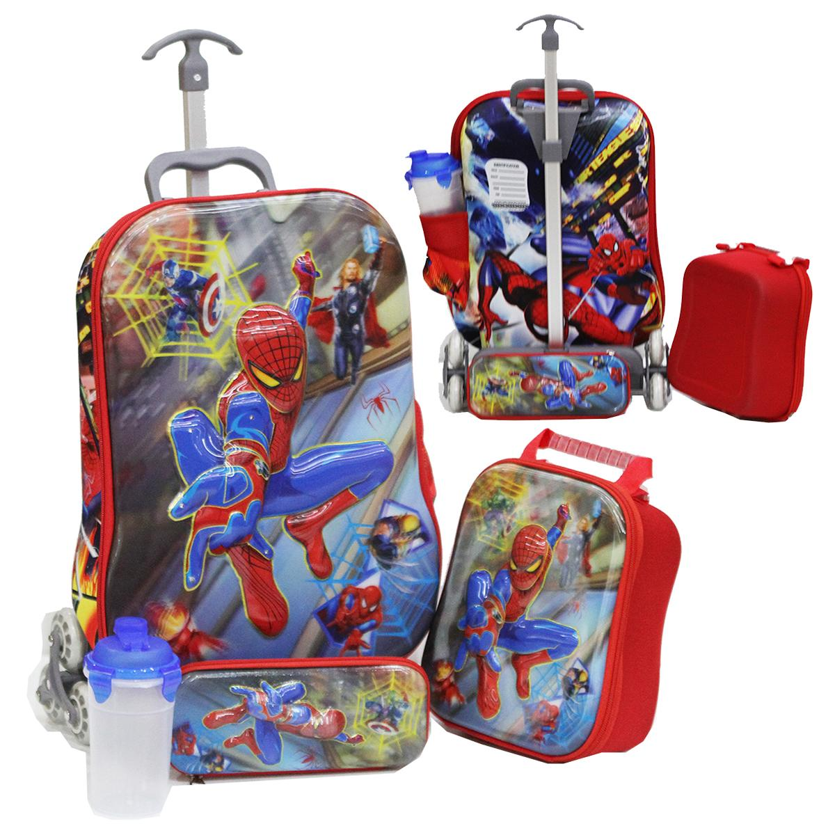 Onlan Tas Trolley Anak Motif 5D Timbul 4in1 Set 6 Roda Import ( KODE MM )  - Merah