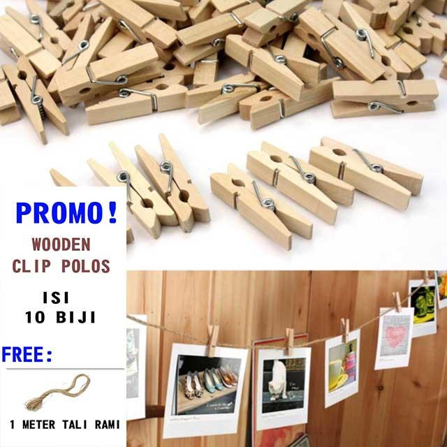 WOODEN CLIP POLOS JEPITAN FOTO POLOS NATURAL 3,5CM ISI 10 PCS