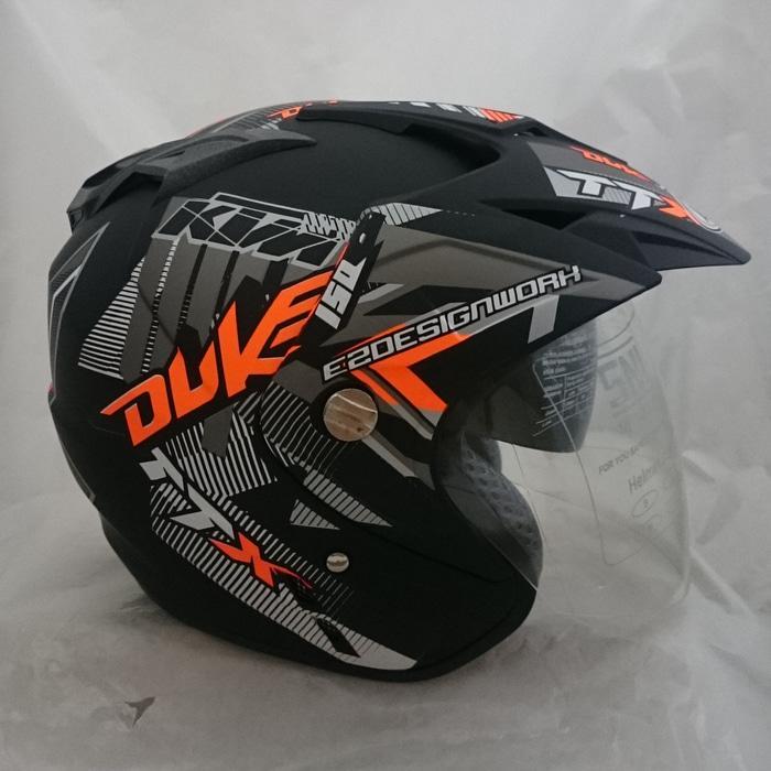 Helm 2 kaca (Double Visor) Murah Black doff Orange DUKE DMN || helm kyt / helm bogo / helm full face / helm ink / helm sepeda /helm motor/helm nhk/helm retro/helm anak/helm gm